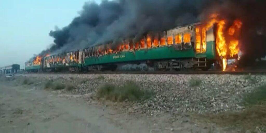Train fire massacre